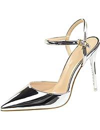 wealsex Escarpins Sandales Cuir Vernis Talon Haut Aiguilles Sexy Bout  Pointu Bride Cheville Chaussure Mode Simple c847087d036f