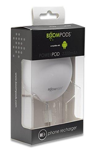 Boompods Powerpod Batteria Esterna Power Bank Caricabatterie Portatile, Compatto da 2300mAh, con Cavo Micro USB (Powerpod Batteria Portatile)