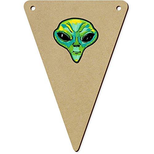 Azeeda 5 x 140mm 'Tête Extraterrestre' Fanions Triangles en Bois (BN00049227)