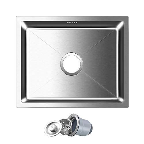 AuraLum 50 x 40 x 22cm Küchenspüle aus Gebürstetem Edelstahl, Spüle kein Montagelöcher Eckige Edelstahlspüle 1 Becken Einbauspüle mit Überlauf für Küche, chrom