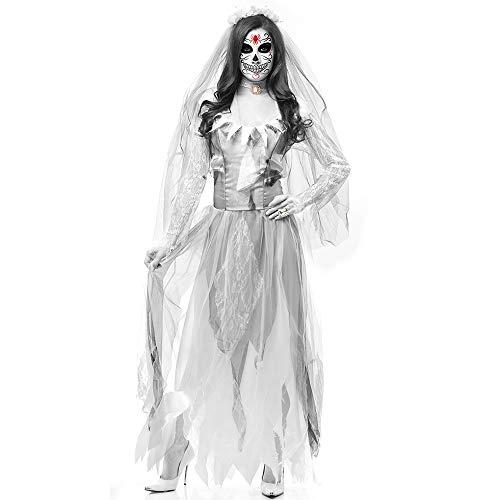 (Hlidpu Halloween Toten Körper Braut Kostüm Frauen Langes Kleid Scary Zombie Geisterbraut Cosplay,White,M)