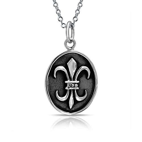 Fleur De Lis Oval Medaillon Anhänger Antiqued 925 Silber Halskette Für Damen Freundin - De Lis-mardi Fleur Gras