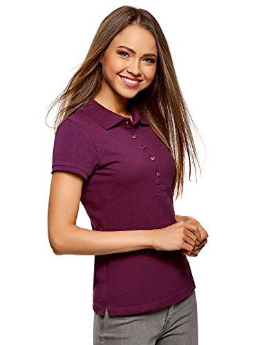oodji Ultra Damen Pique-Poloshirt Basic , Farbe - Violett (8300N) , Gr. L