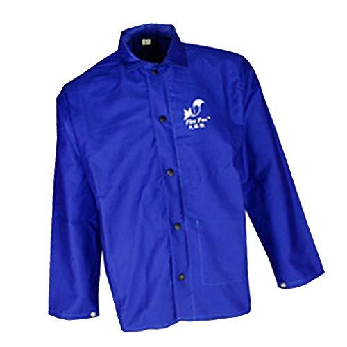 FLAMEER Jnopf Verschluss Schutz Jacke Männer Frauen Schutzkleidung Anzug Sicherheitsschweißen Blau - Blau XXL