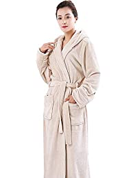 47d345d93f HUIFEI Nightgown Autumn And Winter Coral Fleece Couple Dressing Gown Thick  Long Flannel Bathrobe Home Service