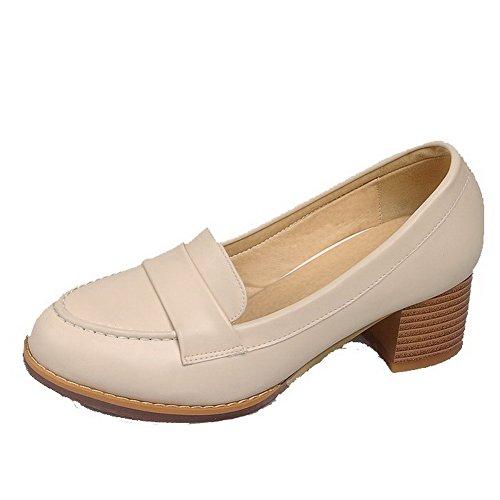 AgooLar Femme à Talon Correct Matière Souple Couleur Unie Tire Rond Chaussures Légeres Abricot
