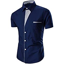 Tefamore Camisas de manga corta para hombre Ropa formal Casual De Fiesta (Tamaño:L, Azul)