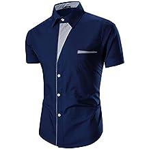 Tefamore Camisas de manga corta para hombre Ropa formal Casual De Fiesta