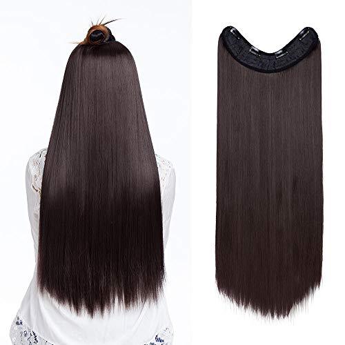 Sego - extension clip capelli marrone lunghi ultra morbidi 65cm fascia unica con 4 clip sintetici straight u part estensioni 3/4 full head - marrone scuro