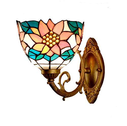 Tiffany-Stil Wandleuchten, 7,9 Zoll Sun Flower Pattern Glasmalerei Schatten dekorative Leuchten für Schlafzimmer Nacht Korridor, E27, 110-240V