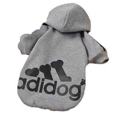 Eastlion Adidog Hund Pullover Welpen-T-Shirt Warm Pullover Mantel Pet Kleidung Bekleidung, Grau, Gr. M