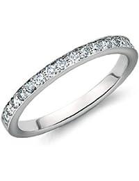 UK Halmarked 18k White Gold 0.25 Ct Round Diamond Grain Set Half Eternity Ring