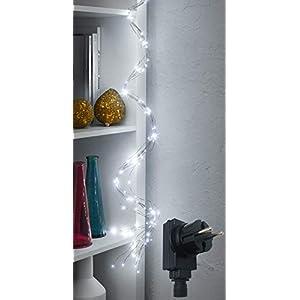 LED Lichterschweif /mit 200 LED beleuchtet / Timerfunktion / Dimmerfunktion / IP44 / Draht-Lichterkette - Lichterbündel - für Innen- & geschützten Außenbereich (LED: kaltweiß | Draht: silber)