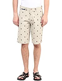 Upperclass Men Beige Cotton Casual Shorts (MSHO-15615_Beige)