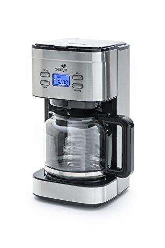 Senya cafetiere electrique programmable Inox Family Coffee, verseuse en verre, cafetiere filtre 12 tasses en Acier Inoxydable 1,5L, 900W, SYBF-CM019