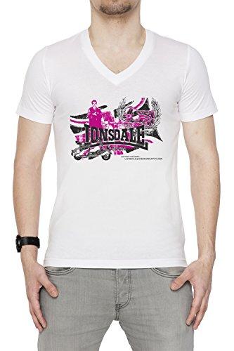 Lonsdale Uomo V-Collo T-shirt Bianco Cotone Maniche Corte White Men's V-neck T-shirt