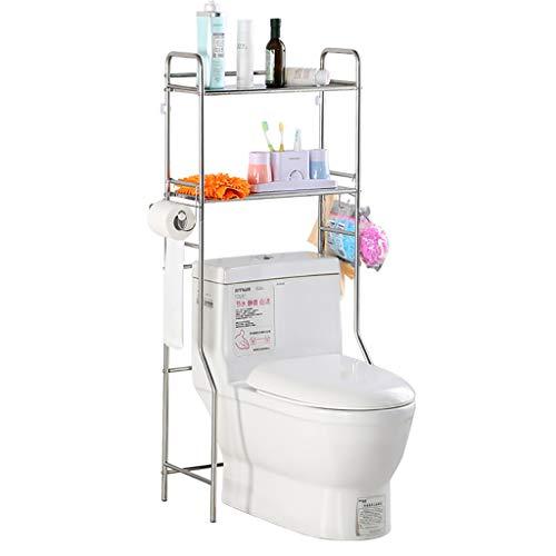 Regal Badezimmer Space Saver, 2-Tier BüGeleisen Wc Handtuch Storage Rack Halterung üBer Dem Bad Toilette Regal Organizer Mit 3 Haken, Weiss -