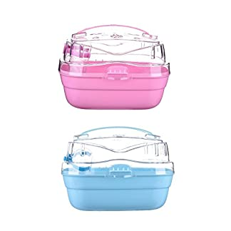 jannyshop Hamster Plastic Cage Lovely Transparent Box with Built-in Water Bottle Portable Outdoor Travelling Carrier for Small Animals 41IfzsIqmwL