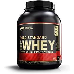 Optimum Nutrition Gold Standard Whey Eiweißpulver (mit Glutamin und Aminosäuren. Protein Shake von ON), Double Rich Chocolate, 74 Portionen, 2.27kg