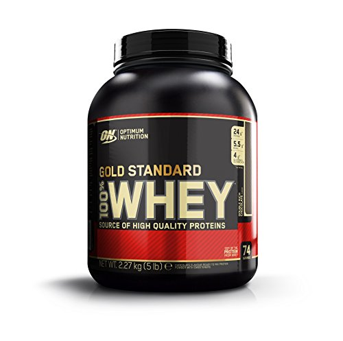 Optimum Nutrition Gold Standard Whey Protein Pulver (mit Glutamin und Aminosäuren. Eiweisspulver von ON) Double Rich Chocolate, 74 Portionen, 2,27kg (Protein 5 Whey)