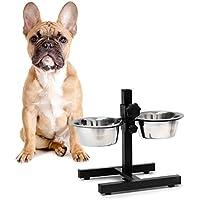 Relaxdays Comedero Doble para Perros y Gatos, Plateado, 21.5x36x27 cm, 10019116_397
