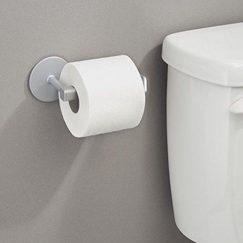 comprare on line mDesign porta carta igienica – montaggio senza forare il muro – portarotolo bagno autoadesivo – portarotolo in alluminio color argento – ideale per ambienti piccoli prezzo
