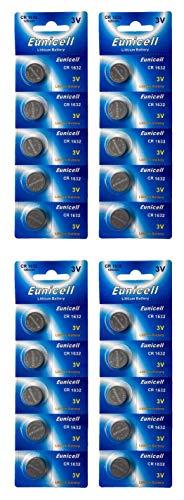 Eunicell 20 x CR1632 3V Lithium Knopfzelle 120 mAh (4 Blistercards a 5 Batterien) EINWEG Markenware