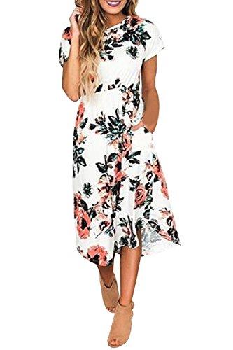 OMZIN Damen Strandkeid Lose Sommerkleid Kurzarm Blumen Druck Casual Tasche Maxikleid Weiß 3XL (Taille Perlen Jersey-kleid)