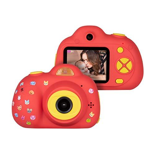 Funkprofi Kinderkamera Kamera für Kinder D6 Mini Dual Kamera 8 Megapixel mit Aufkleber Fotoapparat Digitalkamera Geschenk Spielzeug für Jungen Mädchen ab 3 Jahren Rot