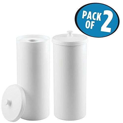 mDesign Juego de 2 portarrollos de pie – Dispensador de papel higiénico para el baño – Almacenaje de baño para 3 rollos de papel higiénico – blanco