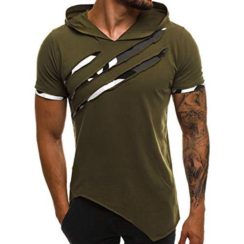 HHyyq Herren Kurzarm Biker T-Shirt SweatHemd Kapuzenpullover mit Hood ÜbergrößeVintage Washed Kurzarm Herren Kapuzenpullover Hooded Top(Grün,M) -