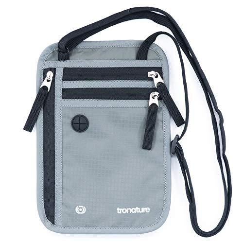 Flacher Brustbeutel mit RFID-Schutz in grau - Wasserfeste Brusttasche für maximale Sicherheit für Smartphone und Reise-Dokumente - Leichte Halsgeldbörse zum Umhängen für Damen, Herren, Kinder