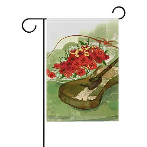 SUNOP Bandera de jardín de poliéster Flores y Guitarras Pancarta de 30,48 x 45,72 cm para Exterior hogar jardín Maceta decoración Fiesta Suministros casa Bandera
