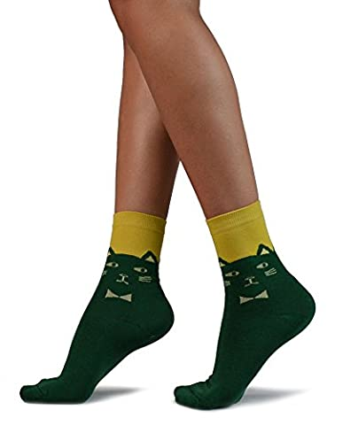 Dark Green Ankle Socks, Pale Yellow Cat Face & Bow with Mustard Yellow Top …