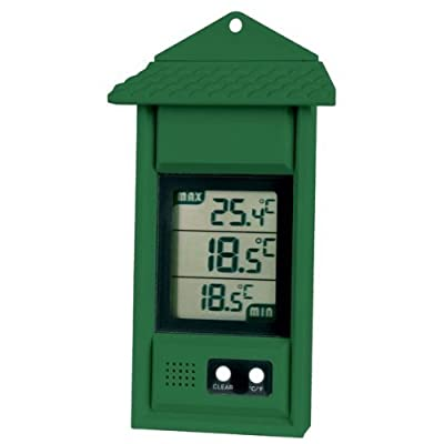 Digital max/min thermometer for conservatories, greenhouses & grow rooms (Green)