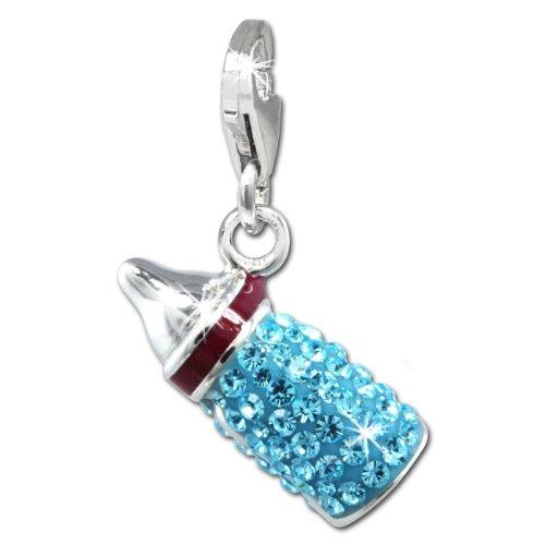 SilberDream Glitzer Charm 3D Nuckelflasche / Babyflasche hellblau Zirkonia Kristalle Anhänger 925 Silber für Bettelarmbänder Kette Ohrring GSC555H