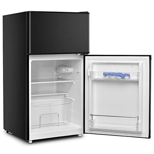 DREAMADE Kühlschrank mit Gerierfach, Standkühlschrank Kühl-Gefrier-Kombination, 95L, Schlepptür, Höhenverstellbare Füße, Innenbeleuchtung, 2 Glas-Ablagen, 3 Türablagen, 1 Obstschachtel