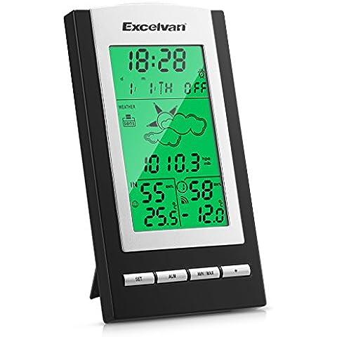 EXCELVAN Wireless Stazione Meteo Digitale - Monitor Indoor & Outdoor Min / Max Temperatura. Grande (3 Sensori Remoti)