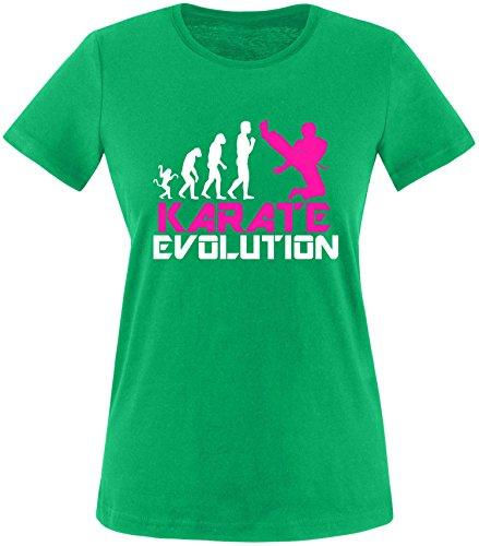 EZYshirt® Karate Evolution Damen Rundhals T-Shirt Grün/Weiss/Pink