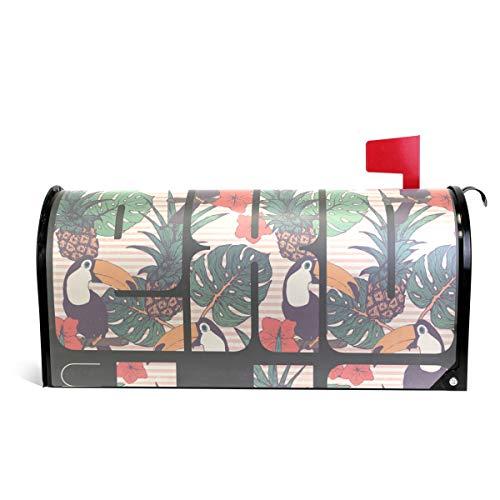 senya magnétique Grande Taille Boîte aux Lettres Coque Exotique Ananas et Oiseaux, surdimensionné 25.5x20.8 inch Multicolore