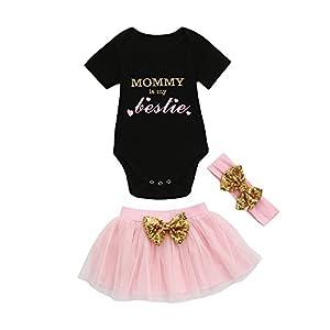 K-youth Vestido Bebe Niña, Bebé Cumpleaños 3 Piezas Ropa Bebe Niña Recien Nacido Bebé Tops Mameluco Bebé Mono y Tutú Princesa Vestido Niña Falda y Diadema Conjunto 1