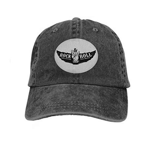 Baseball Caps Trucker Caps Bones Hip Hop Hats for Men Women Rock Festival Human Hand Rock Roll Sign Background Wings Des Black