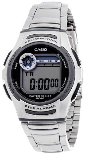 CASIO W-213D-1A - Reloj digital, para hombre, color gris y plateado