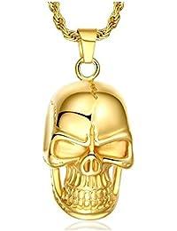 BOBIJOO Jewelry - Pendentif Collier Homme Tête de Mort Acier Inoxydable  Doré à l or 04e8804208f