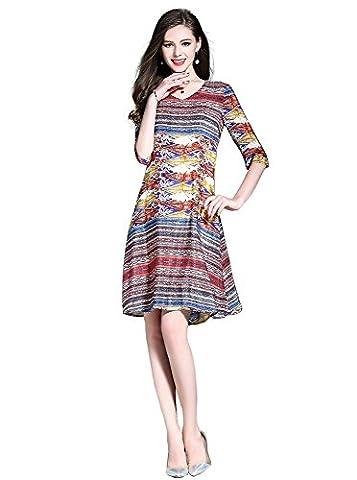 Years Calm Summer Paisley style Imitated silk fabric V-neck 3/4 sleeve Dress Female (XL-UK(10-12))