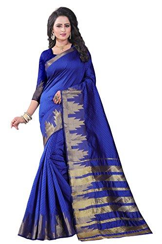 cotton sarees new collection 2018 (Blue Lichi Silk Jacquard Saree )