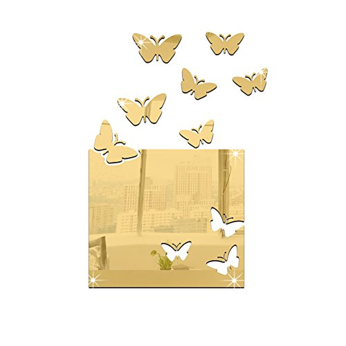 Kinderzimmer Deko Schmetterling Spiegel Wand Aufkleber abnehmbaren Aufkleber, gold -