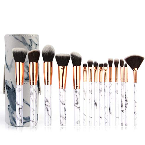 15 stück Make-up Pinsel Set, EUZeo Teile Make Up Pinsel Set mit luxeriöser Leder Effekt...