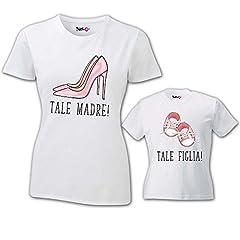 Idea Regalo - Coppia di T Shirt Mamma Bambino Festa della Mamma Tale Madre Tale Figlia Bianche Donna XL - Bimbo 5-6 Anni