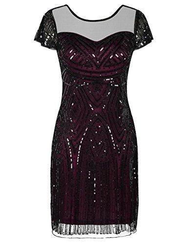 Kayamiya Damen Flapper Kleider Inspiriert Pailletten Cocktail Great Gatsby Kleid S (Kleid Great Flapper Gatsby)